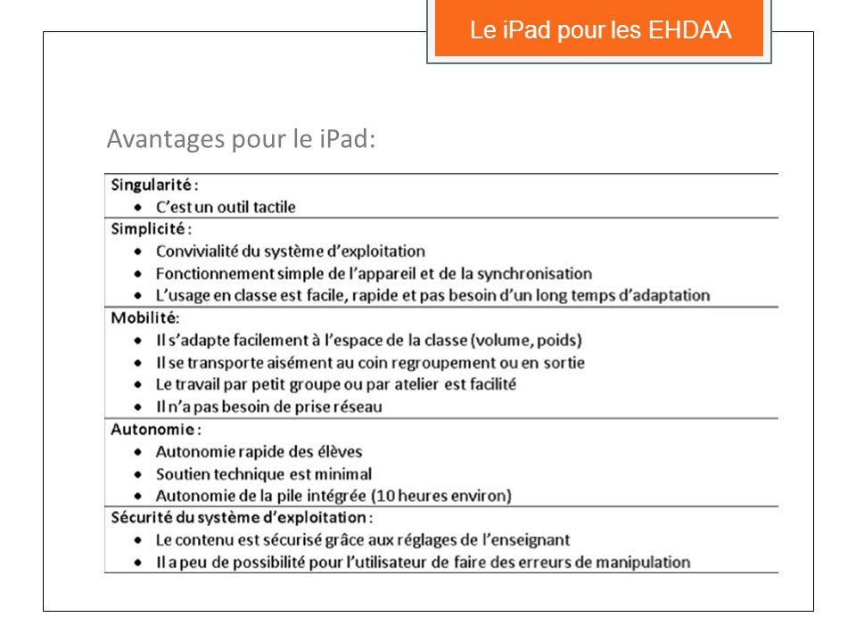 Avantages pour le iPad: Le iPad pour les EHDAA