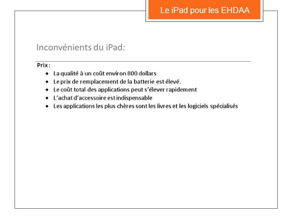 Inconvénients du iPad: Le iPad pour les EHDAA
