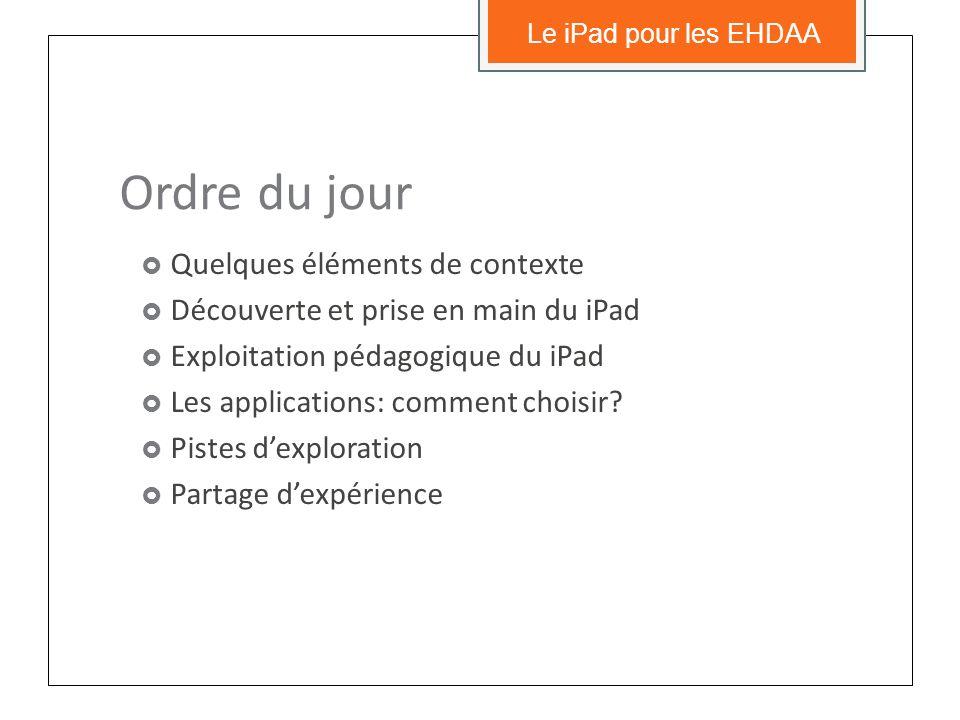 Exemples dexploitation iPad comme outil dapprentissage… académique social iPad comme moyen de suppléance… à la communication à la lecture à lécriture iPad comme outil de rééducation… en orthophonie en ergothérapie en psychoéducation iPad comme source de motivation Le iPad pour les EHDAA