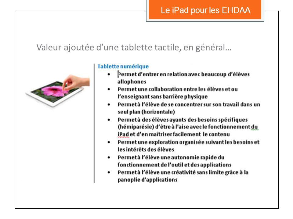 4) La tablette numérique offre, pour les élèves visés, des avantages supérieurs à lordinateur… … ou à tout autre outil ou appareil qui pourrait e ̂ tre utilisé; Le iPad pour les EHDAA Paramètres dutilisation des iPad pour les élèves EHDAA (CSDM)