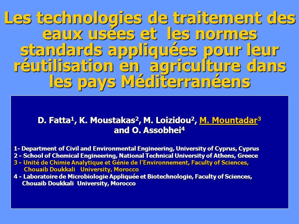 Les technologies de traitement des eaux usées et les normes standards appliquées pour leur réutilisation en agriculture dans les pays Méditerranéens D