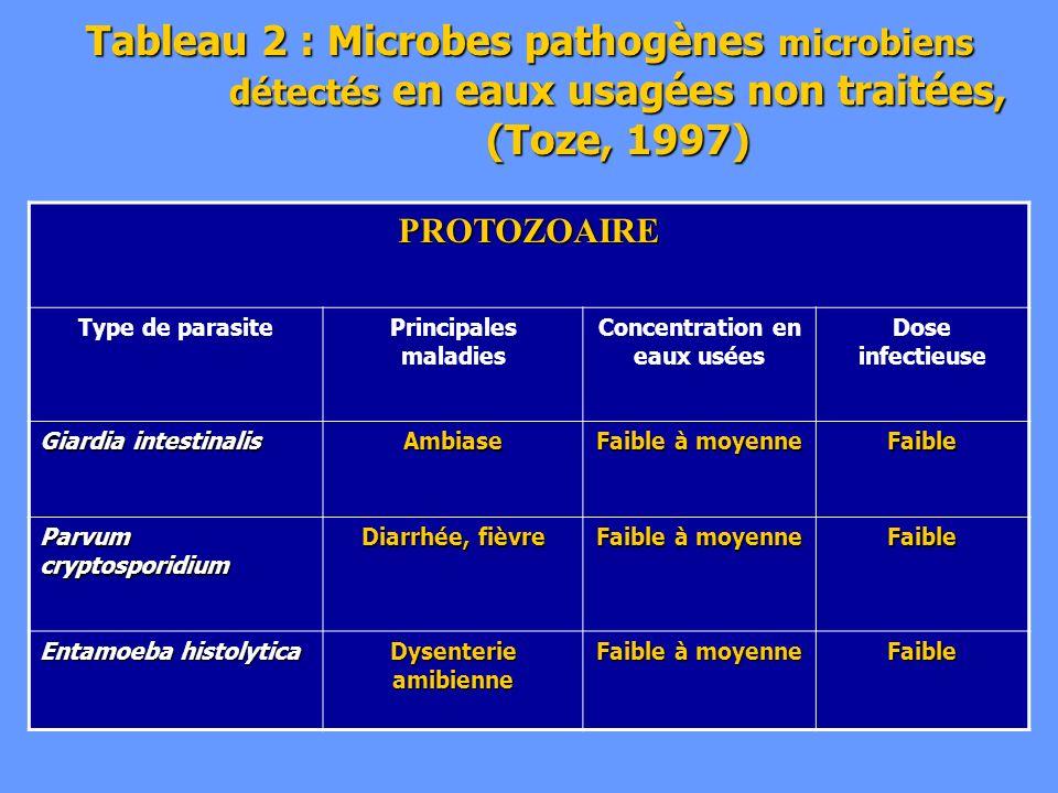 Tableau 2 : Microbes pathogènes microbiens détectés en eaux usagées non traitées, (Toze, 1997) PROTOZOAIRE Type de parasitePrincipales maladies Concen