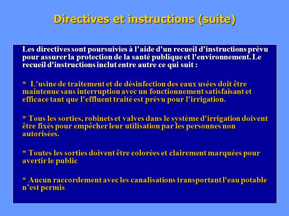 Directives et instructions (suite) Les directives sont poursuivies à laide d'un recueil d'instructions prévu pour assurer la protection de la santé pu