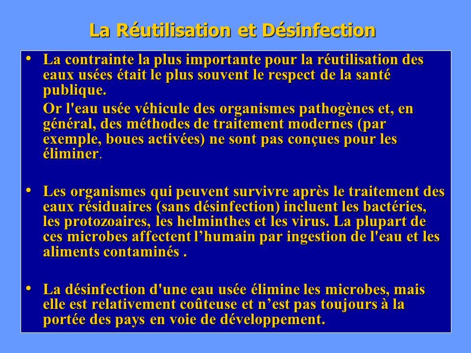 La Réutilisation et Désinfection La contrainte la plus importante pour la réutilisation des eaux usées était le plus souvent le respect de la santé pu
