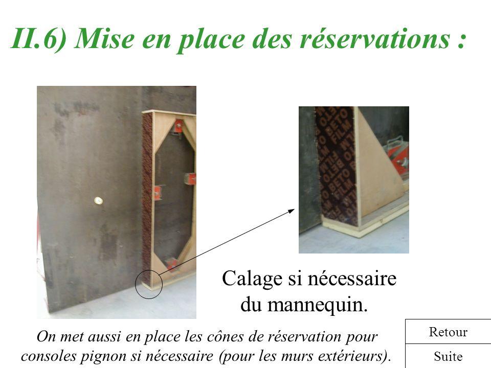 II.6) Mise en place des réservations : Calage si nécessaire du mannequin. Suite Retour On met aussi en place les cônes de réservation pour consoles pi