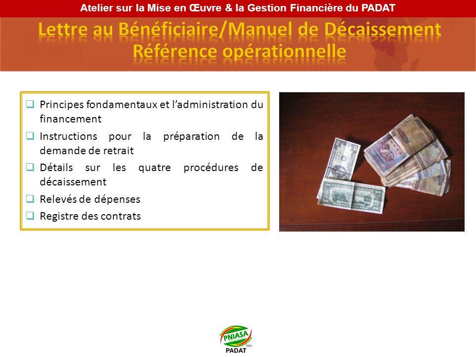 Principes fondamentaux et ladministration du financement Instructions pour la préparation de la demande de retrait Détails sur les quatre procédures d