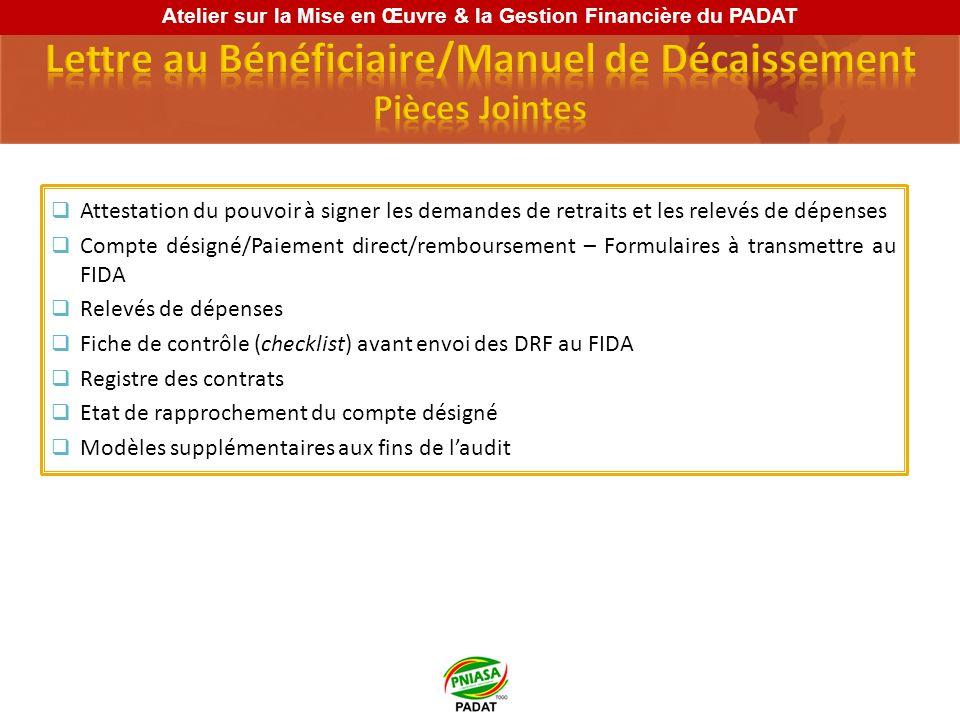Le Bénéficiaire, après l entrée en vigueur des Accords de financement, ouvre auprès dune institution financière à Lomé ayant lagrément du Fonds, deux comptes bancaires en USD désignés pour recevoir des avances de ressources provenant des dons du FIDA et du GAFSP A travers la soumission de la première Demande de Retrait des Fonds (DRF), le FIDA vire les allocations initiales au comptes désignés Montants autorisés (dépôts initiaux): USD 1 000 000 pour le DSF-8069-TG USD 1 000 000 pour le COFIN-GAF-8069-TG Plafond initial du PADAT: USD 2 000 000 Atelier sur la Mise en Œuvre & la Gestion Financière du PADAT