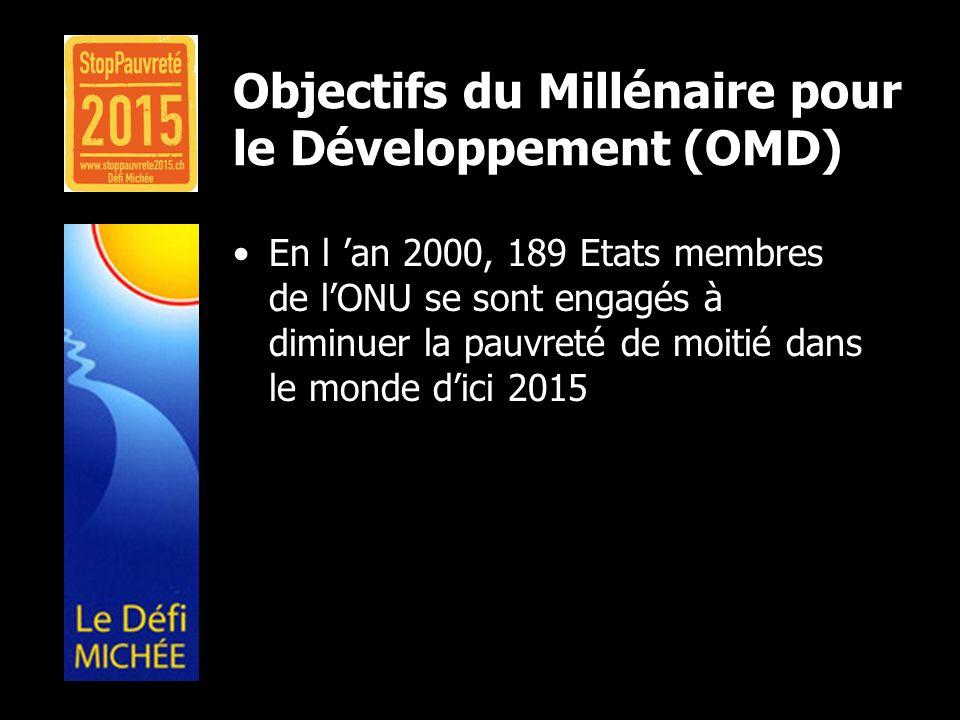 Objectifs du Millénaire pour le Développement (OMD) En l an 2000, 189 Etats membres de lONU se sont engagés à diminuer la pauvreté de moitié dans le m