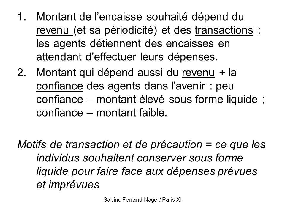 Sabine Ferrand-Nagel / Paris XI 1.Montant de lencaisse souhaité dépend du revenu (et sa périodicité) et des transactions : les agents détiennent des e
