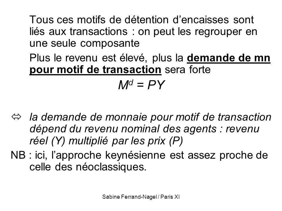 Sabine Ferrand-Nagel / Paris XI Tous ces motifs de détention dencaisses sont liés aux transactions : on peut les regrouper en une seule composante Plu