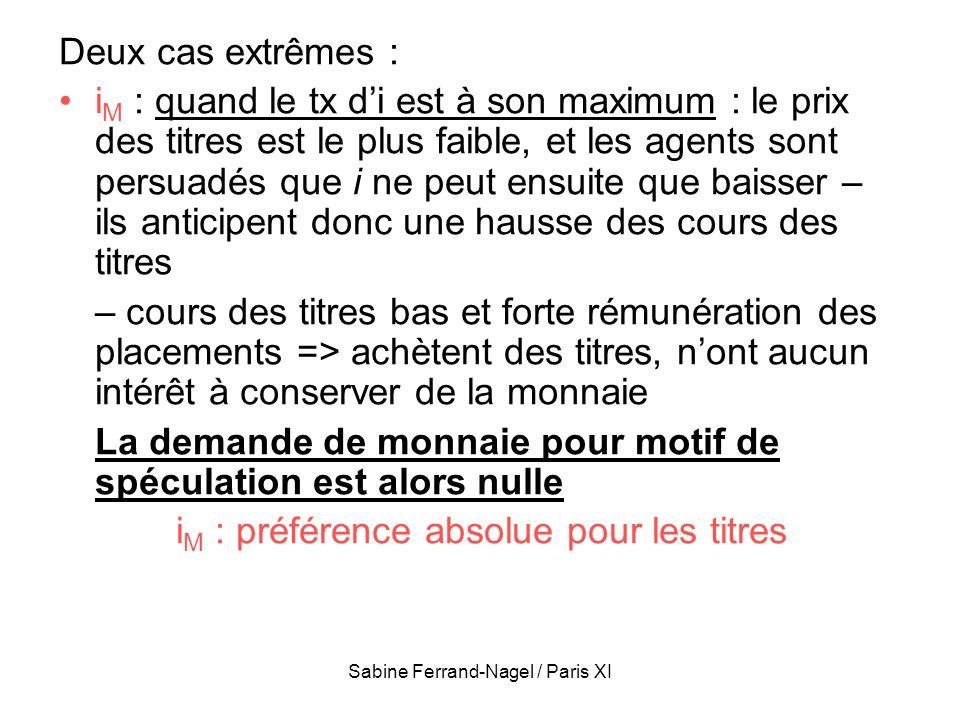 Sabine Ferrand-Nagel / Paris XI Deux cas extrêmes : i M : quand le tx di est à son maximum : le prix des titres est le plus faible, et les agents sont