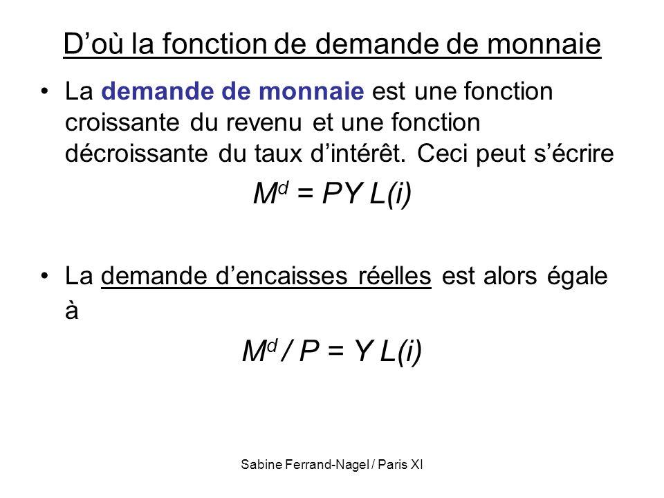 Sabine Ferrand-Nagel / Paris XI Doù la fonction de demande de monnaie La demande de monnaie est une fonction croissante du revenu et une fonction décr