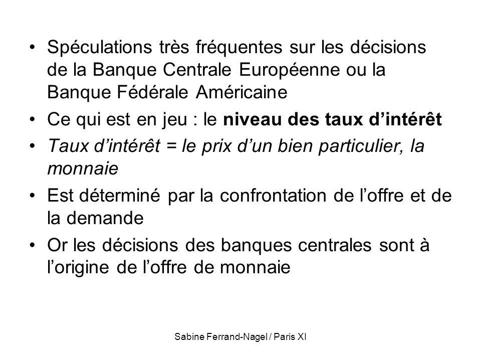 Sabine Ferrand-Nagel / Paris XI Spéculations très fréquentes sur les décisions de la Banque Centrale Européenne ou la Banque Fédérale Américaine Ce qu