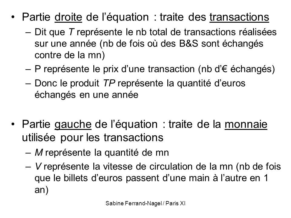 Sabine Ferrand-Nagel / Paris XI Partie droite de léquation : traite des transactions –Dit que T représente le nb total de transactions réalisées sur u