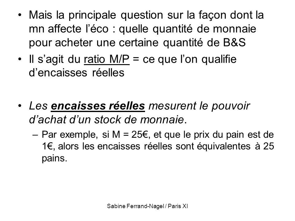 Sabine Ferrand-Nagel / Paris XI Mais la principale question sur la façon dont la mn affecte léco : quelle quantité de monnaie pour acheter une certain