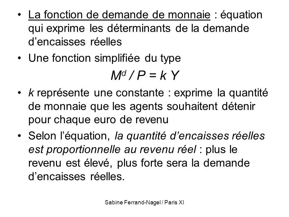 Sabine Ferrand-Nagel / Paris XI La fonction de demande de monnaie : équation qui exprime les déterminants de la demande dencaisses réelles Une fonctio
