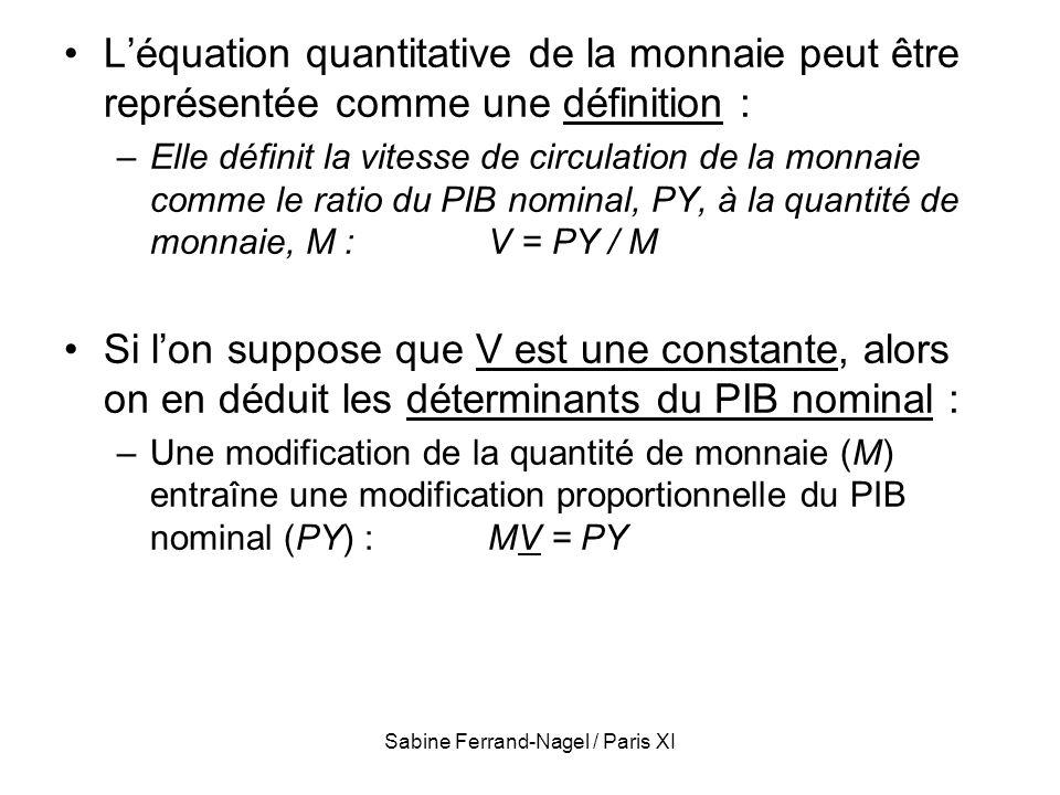 Sabine Ferrand-Nagel / Paris XI Léquation quantitative de la monnaie peut être représentée comme une définition : –Elle définit la vitesse de circulat