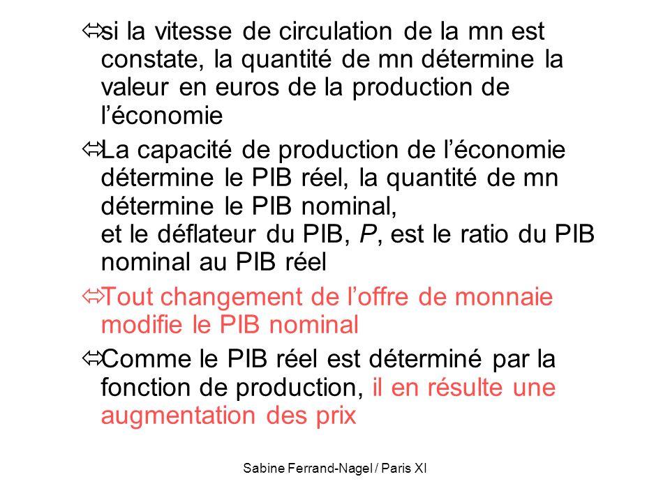 Sabine Ferrand-Nagel / Paris XI si la vitesse de circulation de la mn est constate, la quantité de mn détermine la valeur en euros de la production de