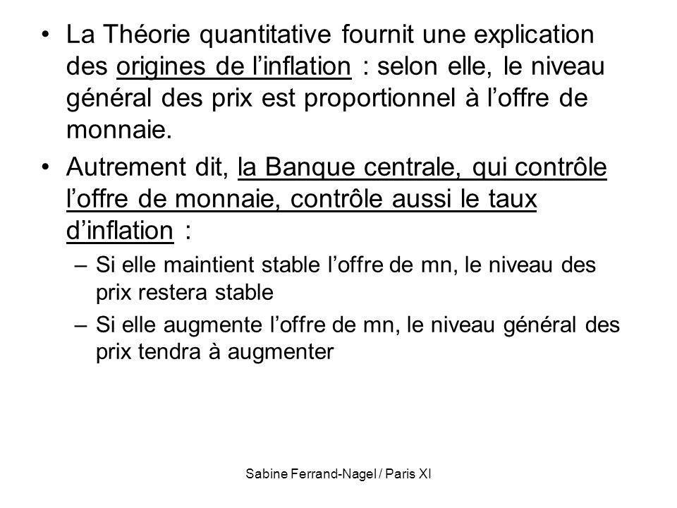 Sabine Ferrand-Nagel / Paris XI La Théorie quantitative fournit une explication des origines de linflation : selon elle, le niveau général des prix es
