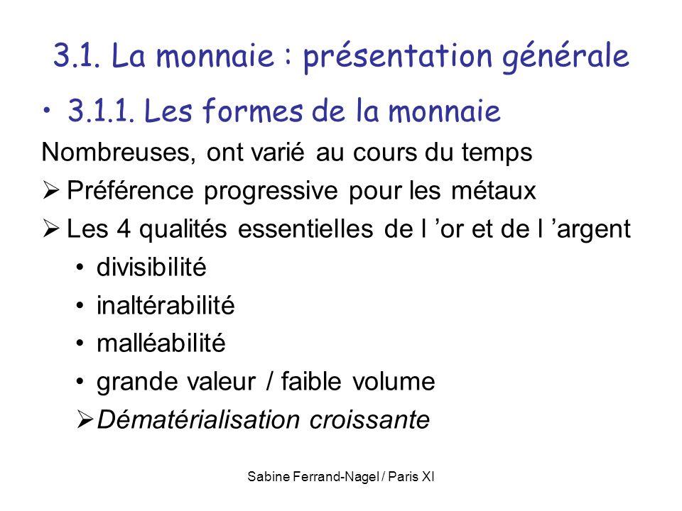 Sabine Ferrand-Nagel / Paris XI 3.1. La monnaie : présentation générale 3.1.1. Les formes de la monnaie Nombreuses, ont varié au cours du temps Préfér