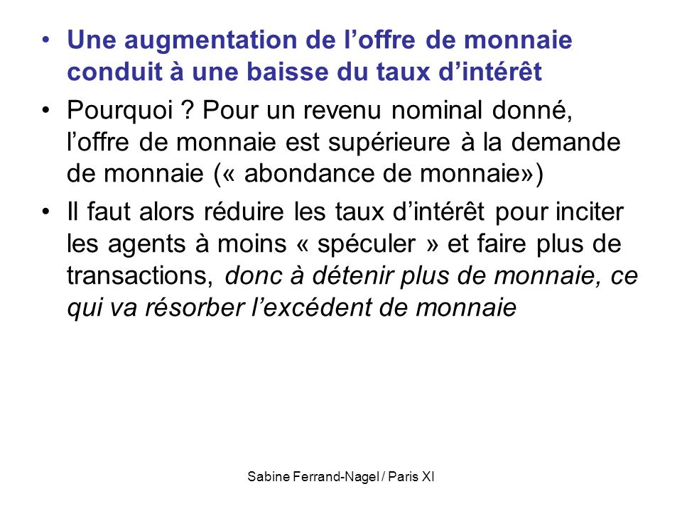 Sabine Ferrand-Nagel / Paris XI Une augmentation de loffre de monnaie conduit à une baisse du taux dintérêt Pourquoi ? Pour un revenu nominal donné, l