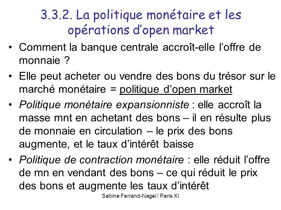 Sabine Ferrand-Nagel / Paris XI 3.3.2. La politique monétaire et les opérations dopen market Comment la banque centrale accroît-elle loffre de monnaie
