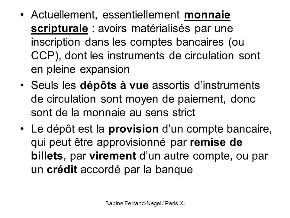 Sabine Ferrand-Nagel / Paris XI Si la demande de mn (M d ) doit être égale à loffre de monnaie (M, résultant de laction de la banque centrale), alors M d / P = M / P On obtient que M / P = k Y M x 1/k = P Y Ce qui peut être réécrit M V = P Y Donc V = 1/k : montre le lien entre la demande de monnaie et la vitesse de circulation de la mn : k et V sont 2 aspects dun même problème Si les agents souhaitent détenir beaucoup de monnaie pour chaque euro de revenu (k élevée), la monnaie passe + lentement des mains de lun à lautre (V faible).