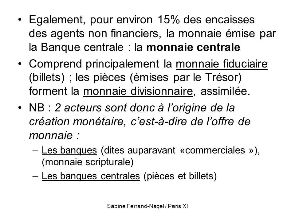 Sabine Ferrand-Nagel / Paris XI Egalement, pour environ 15% des encaisses des agents non financiers, la monnaie émise par la Banque centrale : la monn