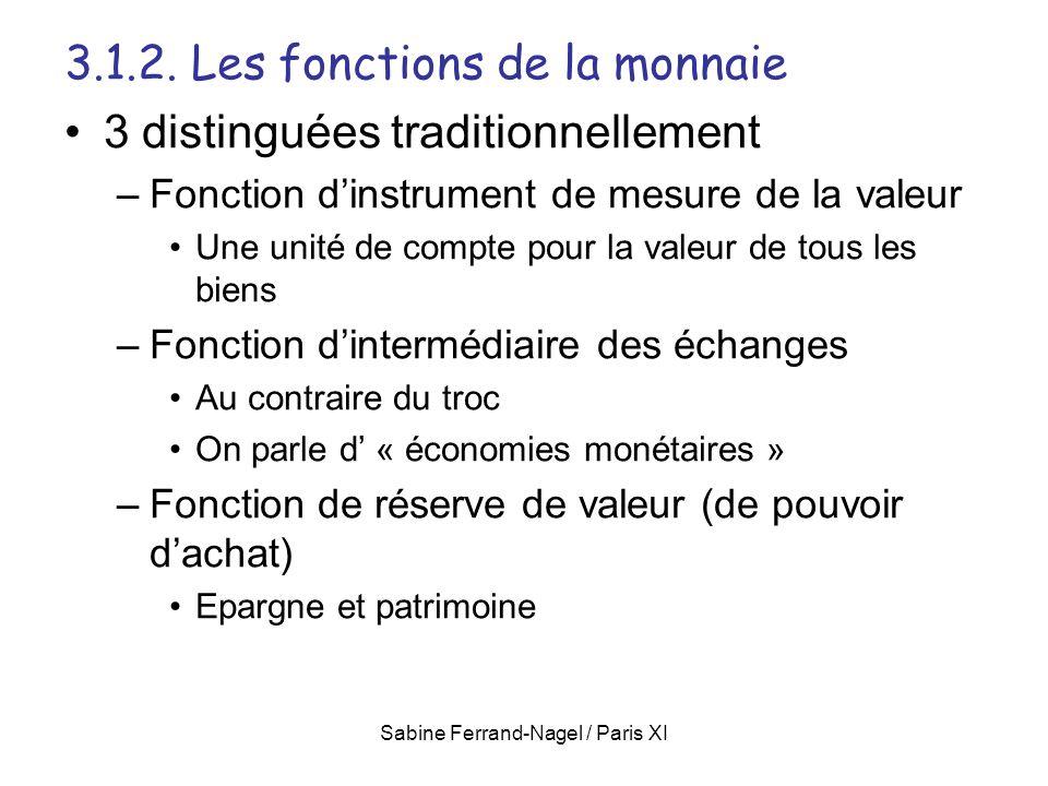 Sabine Ferrand-Nagel / Paris XI 3.1.2. Les fonctions de la monnaie 3 distinguées traditionnellement –Fonction dinstrument de mesure de la valeur Une u