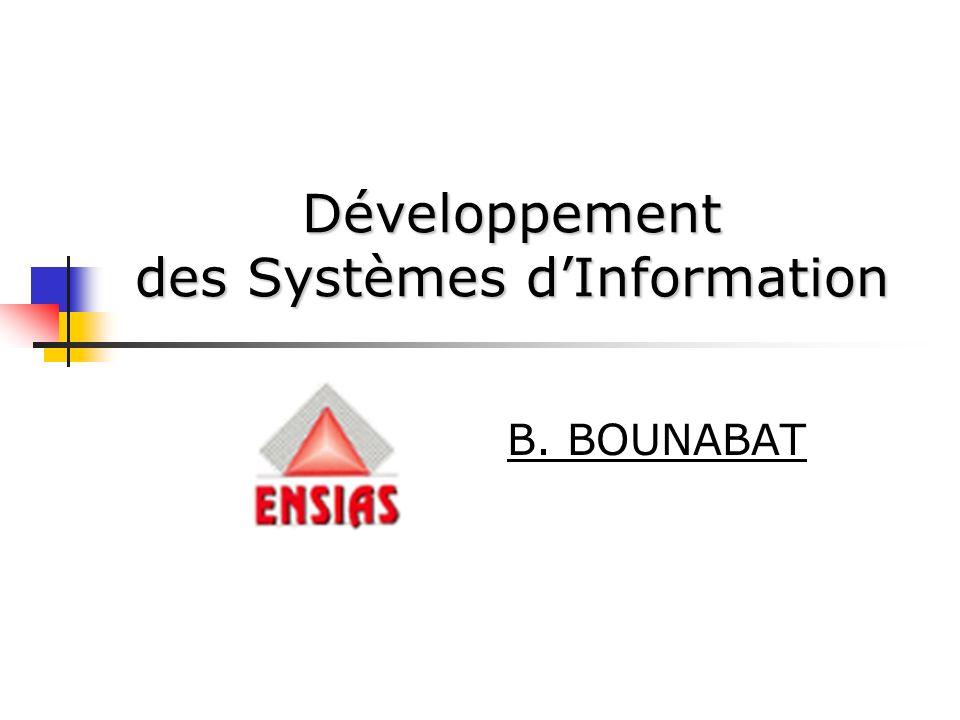 Développement des Systèmes dInformation B. BOUNABAT