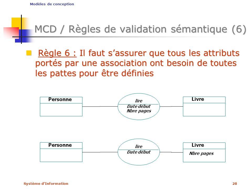 Système dInformation28 MCD / Règles de validation sémantique (6) Règle 6 : Il faut sassurer que tous les attributs portés par une association ont beso