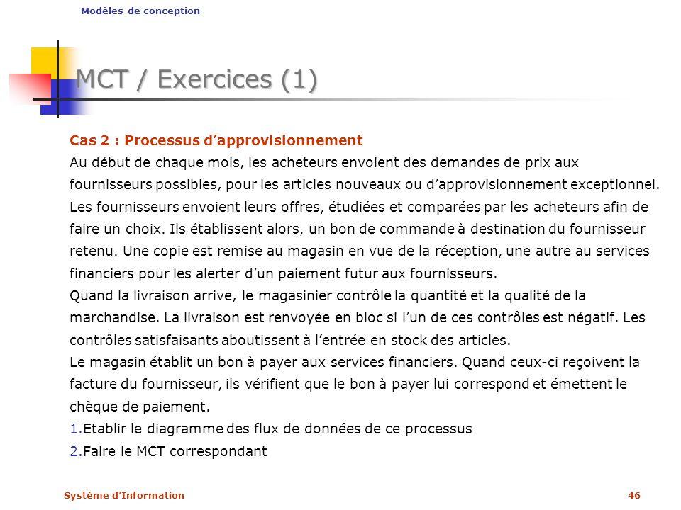 Système dInformation46 MCT / Exercices (1) Cas 2 : Processus dapprovisionnement Au début de chaque mois, les acheteurs envoient des demandes de prix a