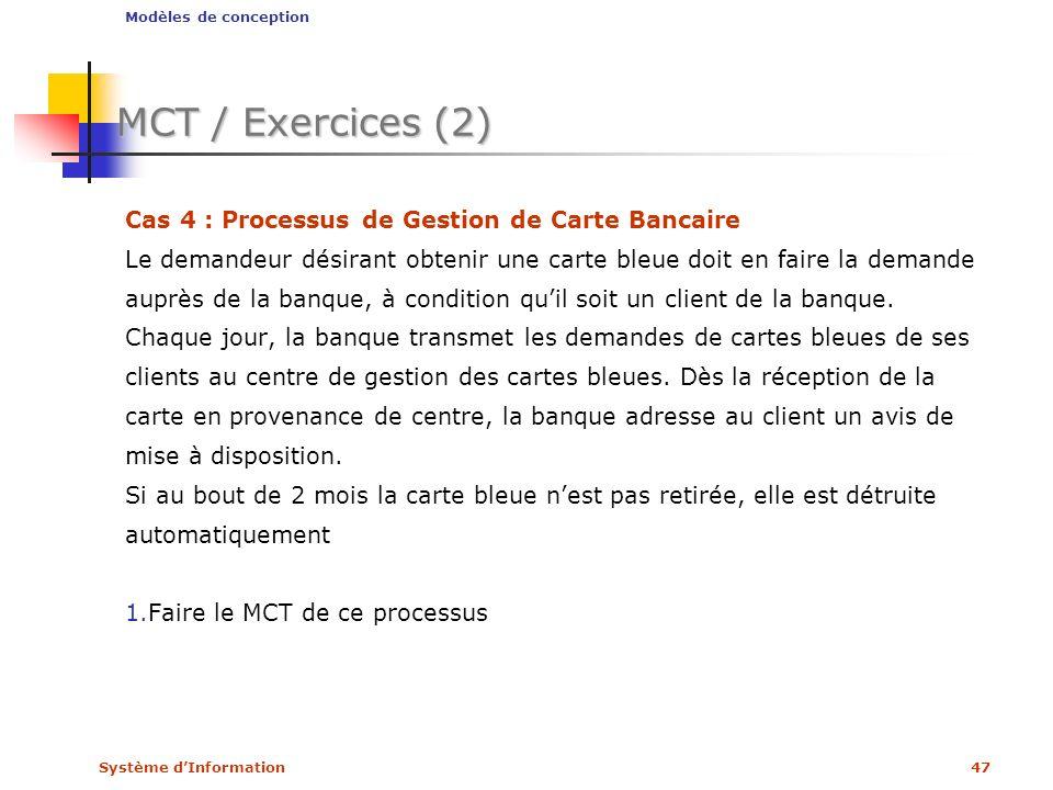 Système dInformation47 MCT / Exercices (2) Cas 4 : Processus de Gestion de Carte Bancaire Le demandeur désirant obtenir une carte bleue doit en faire