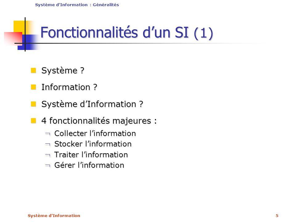 Système dInformation6 Fonctionnalités dun SI (2) Positionnement du SI dans lEntreprise Positionnement du SI dans lEntreprise Système dInformation : Généralités Système de Pilotage Système dInformation Système de Production