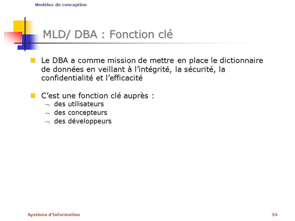 Système dInformation55 MLD/ DBA : Fonction clé Le DBA a comme mission de mettre en place le dictionnaire de données en veillant à lintégrité, la sécur