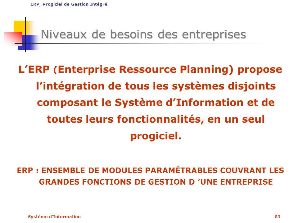 Système dInformation83 Niveaux de besoins des entreprises LERP ( Enterprise Ressource Planning) propose lintégration de tous les systèmes disjoints co