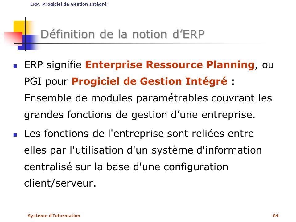 Système dInformation84 Définition de la notion dERP ERP signifie Enterprise Ressource Planning, ou PGI pour Progiciel de Gestion Intégré : Ensemble de