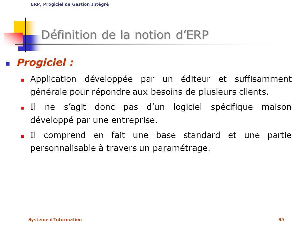 Système dInformation85 Définition de la notion dERP Progiciel : Application développée par un éditeur et suffisamment générale pour répondre aux besoi