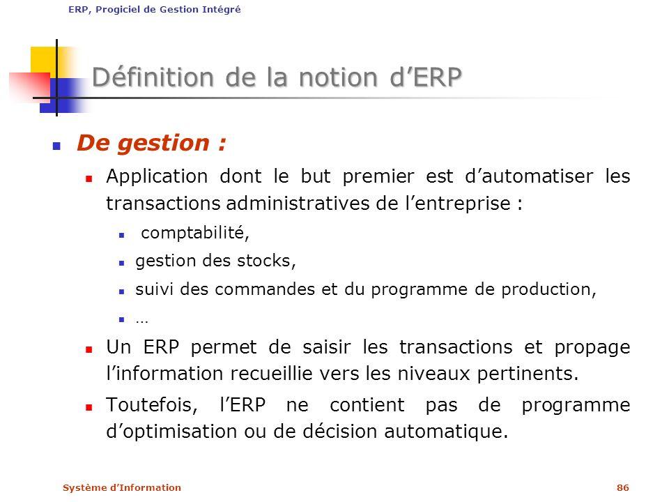 Système dInformation86 Définition de la notion dERP De gestion : Application dont le but premier est dautomatiser les transactions administratives de