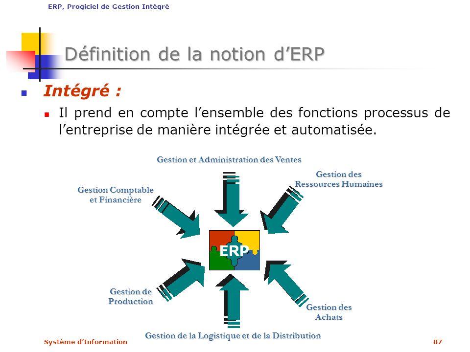 Système dInformation87 Définition de la notion dERP Intégré : Il prend en compte lensemble des fonctions processus de lentreprise de manière intégrée