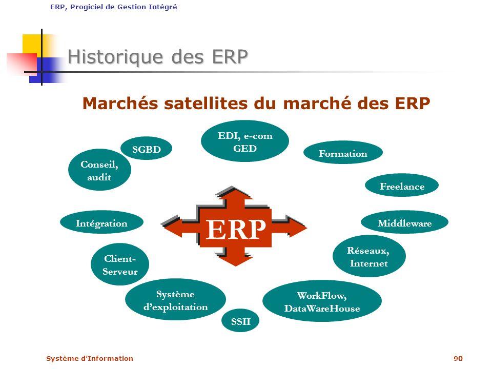 Système dInformation90 Historique des ERP ERP Formation SSII Freelance Client- Serveur Conseil, audit SGBD WorkFlow, DataWareHouse Réseaux, Internet E