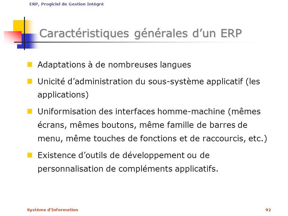 Système dInformation92 Caractéristiques générales dun ERP Adaptations à de nombreuses langues Unicité dadministration du sous-système applicatif (les