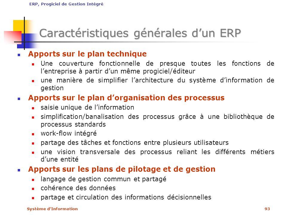 Système dInformation93 Caractéristiques générales dun ERP Apports sur le plan technique Une couverture fonctionnelle de presque toutes les fonctions d