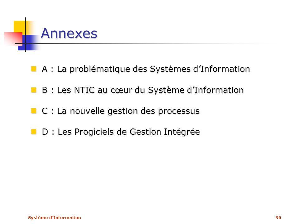 Système dInformation96 Annexes A : La problématique des Systèmes dInformation A : La problématique des Systèmes dInformation B : Les NTIC au cœur du S