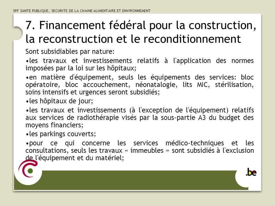 SPF SANTE PUBLIQUE, SECURITE DE LA CHAINE ALIMENTAIRE ET ENVIRONNEMENT 8.
