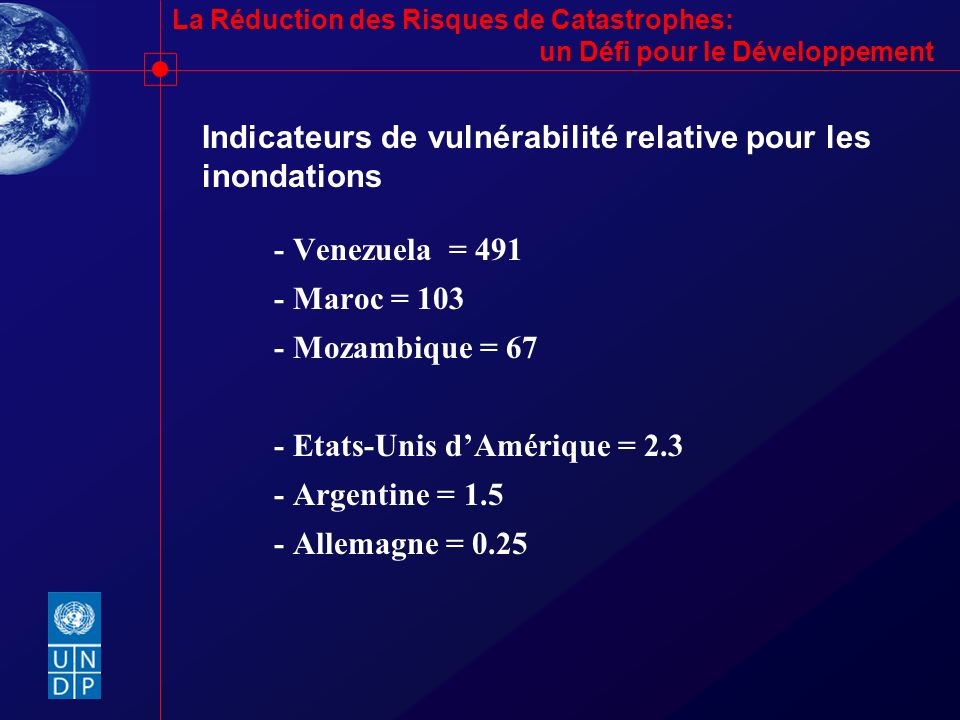 La Réduction des Risques de Catastrophes: un Défi pour le Développement Indicateurs de vulnérabilité relative pour les inondations - Venezuela = 491 -