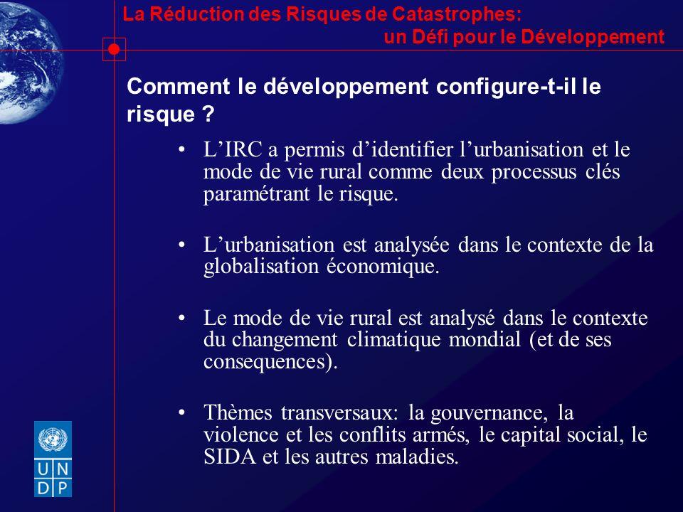 La Réduction des Risques de Catastrophes: un Défi pour le Développement Comment le développement configure-t-il le risque ? LIRC a permis didentifier