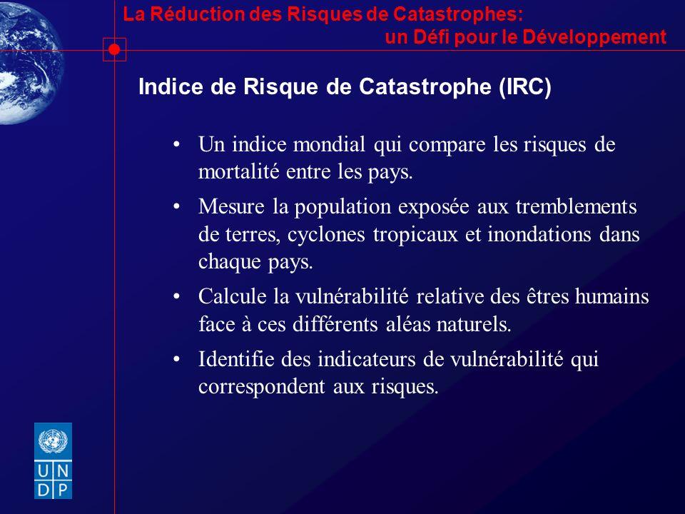 La Réduction des Risques de Catastrophes: un Défi pour le Développement Indice de Risque de Catastrophe (IRC) Un indice mondial qui compare les risque