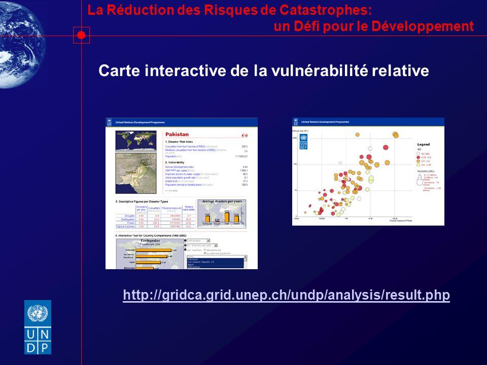 La Réduction des Risques de Catastrophes: un Défi pour le Développement http://gridca.grid.unep.ch/undp/analysis/result.php Carte interactive de la vu