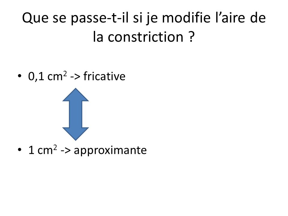 Que se passe-t-il si je modifie laire de la constriction ? 0,1 cm 2 -> fricative 1 cm 2 -> approximante